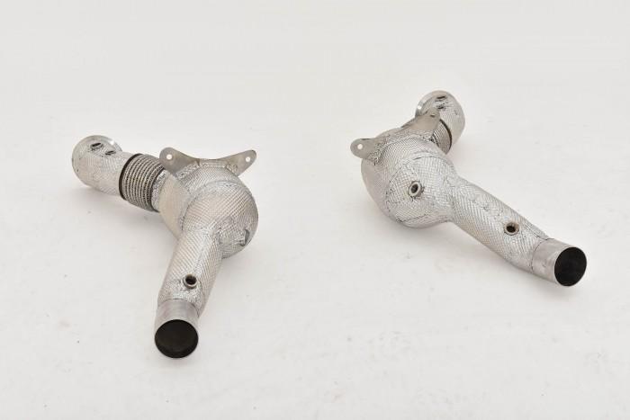2x70mm Downpipe mit 100 Zellen HJS Sport-Kat. Edelstahl
